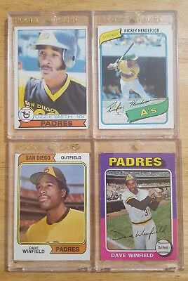 Vintage Card Lot #1 1979 Ozzie 1980 Henderson 1974 Winfield Rookies!! Lot Of 4