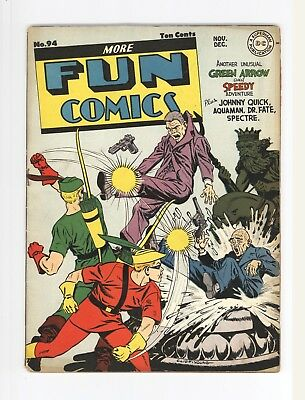 More Fun Comics #94  Unrestored Classic Green Arrow & Speedy Cover 1943
