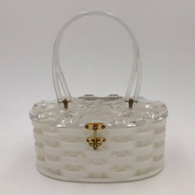 Vintage Retro 1960's 60s 50s Art Deco Lucite Bakelite & Brass Box Purse Hand Bag