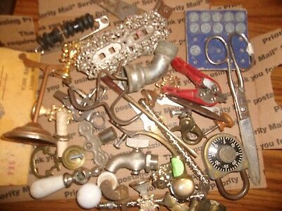 vintage junk drawer architecture parts porcelain knobs tools keys misc repurpose
