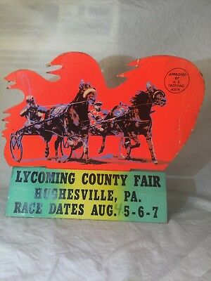Vintage SELF STANDING, COUNTY FAIR, POP ART, HORSE RACING, POSTER, SIGN. PA.