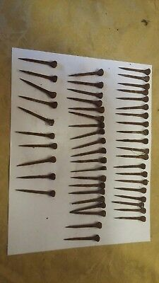 "Lot of 50 2"" Old Vintage Primitive Square Nails  rosehead rusty patina."