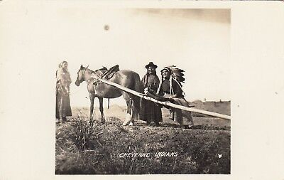 RPPC CHEYENNE INDIAN'S in NATIVE DRESS with HORSE