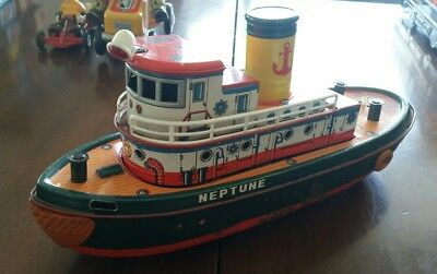 Vintage Tinplate Boat - Neptune Tug Boat Battery Operated
