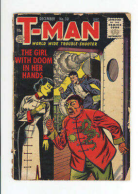 T-Man #30 - Gd 1.8 - Scarce Late Golden Age - The Girl With Doom! - 1955