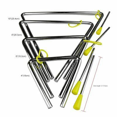 "4""/6""/8""/10"" Rhythm Steel Triangle Beater Musical instruments with Stick YA"