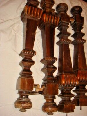 "Vintage set of 4 Architectural Walnut Salvage Carved Table Legs 26"" L vgc"