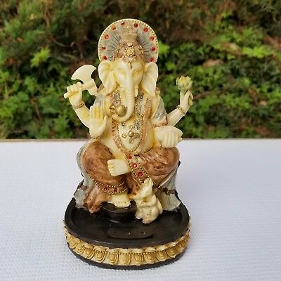 Divine Ganesh Statue Murti 7 inches with incense holder