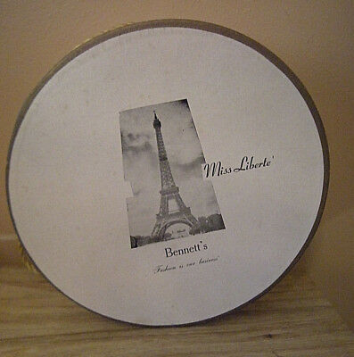 Vintage Hat Box Bennett's Dept. Store Alabama Miss Liberte Eiffel Tower Round
