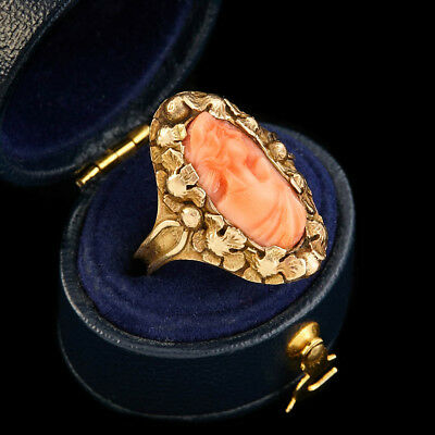 Antique Vintage Nouveau 14k 18k Gold Arts Crafts Carved Coral Cameo Ring S 6.75