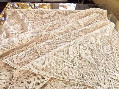 FAB Antique Italian Hand Knotted Net Darned Filet Lace 60x120 Banquet Tablecloth