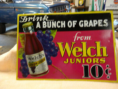 OLD RARE WELCH JUNIORS GRAPE JUICE SIGN EMBOSSED 1930s