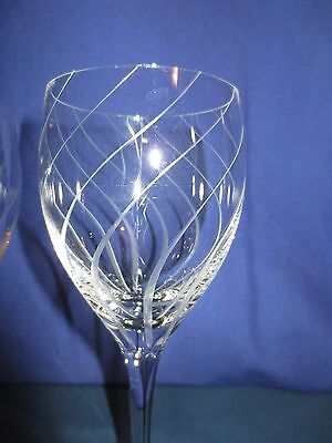 "4 Mikasa 8 1/2"" Water Wine Goblets Crystal Glass Gray cut swirls"