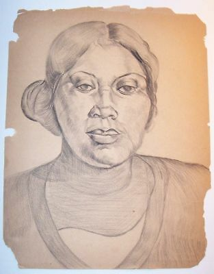 1800s SERIOUS UNEXPRESSIVE AFRICAN AMERICAN LADY FOLK ART PENCIL DRAWING UNSIGND