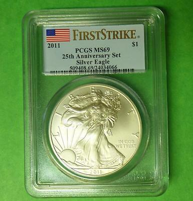 2011 PCGS MS69 First Strike Silver Eagle from 25th Anniversary Set, Flag Label