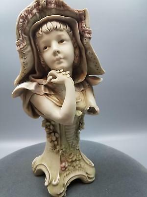 "Antique 11.75"" Turn-Teplitz Bohemia RStK Figurine 1018 Girl Hat AS IS w Damage"