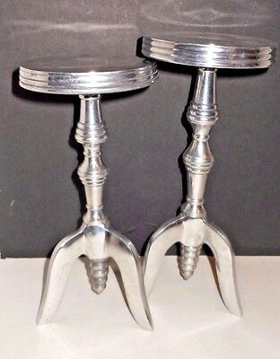 Pr. Miniature Tri-Footed Table Candle Holders in Period Style - Aluminum