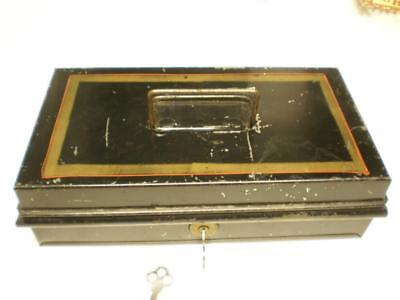 Antique Painted Metal Toleware Cash Deed Strong Box w Yale & Towne Keys - NIce