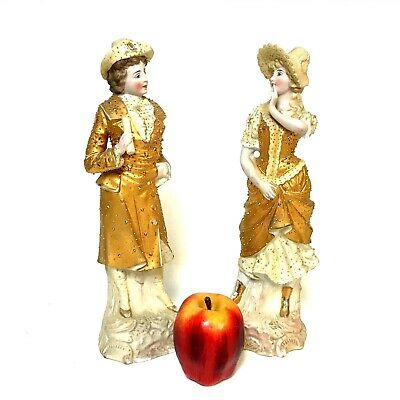 Pair of Large French Fashion Bisque Parian Figurine of Young Couple Gilded