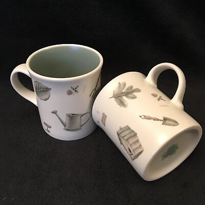 Pfaltzgraff Coffee Mugs Lot of 2 Naturewood Birdhouses Garden Tools Leaves 12oz