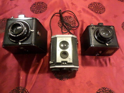 lot of 3 brownie cameras flash six-20,reflex and brownie special six-16 cameras