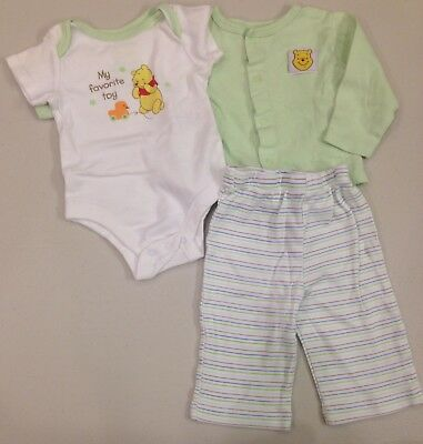 Disney~Winnie the Pooh~Baby 0-3 Months~3PC Set Outfit~Bodysuit Cardigan Pants