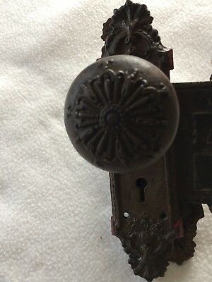 Rare COMPLETE ANTIQUE BRASS DOOR KNOB COMBINATION SET W/LOCK & BACKPLATES #