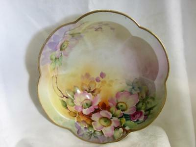 Antique NIPPON Hand Painted Large Floral Bowl Pink Yellow Flowers Vtg Victorian