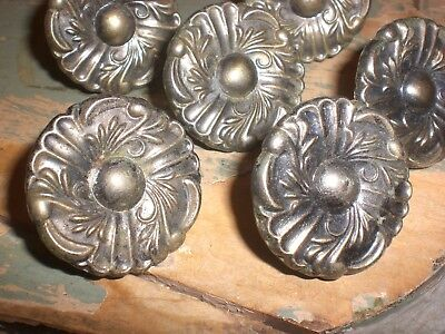 "sHabbY VinTaGe~CARVED BRASS KNOBS~1 3/4"" Round Pull~6 Old Drawer/Cabinet Handles"
