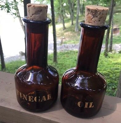 Vintage Vinegar and Oil Brown Glass Bottles with corks made in England