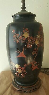 Antique Chinese Wood Vase Table Lamp Hand Painted Asian Oriental Bird Floral