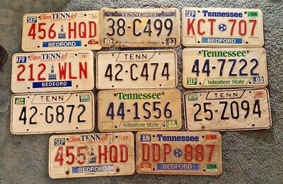 Lot of 11 Vintage Tennessee License Plates 1976 1985 2000 1994 1974 1988 1983