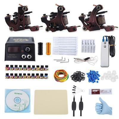 Tattoo Kit Professional 3 Machine Gun Set Power Supply Complete System Power New