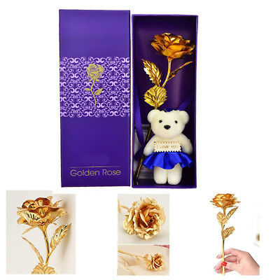 NEW 24K Gold Plated Rose Flower Valentine's Day Birthday Girlfriend Lover Gift