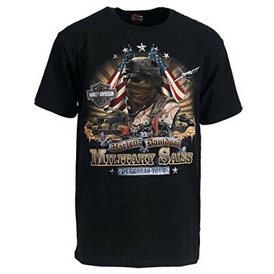 NEW Harley Davidson Men's T Shirt Reckoning Force Military Overseas Tour Racing