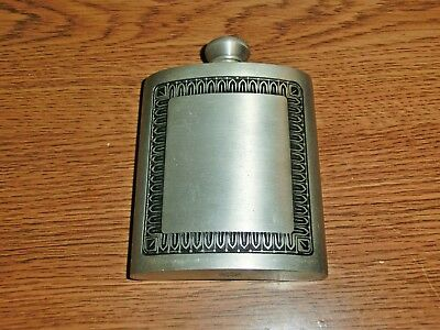 Vintage Selwin Pewter Hip Flask Classic Black Detail