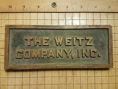 Old BRASS The Weitz Co. Inc Des Moines IOWA Metal Vintage Sign Tool Construction