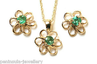 9ct Gold Emerald Daisy Pendant and Earring Set Made in UK Gift Boxed