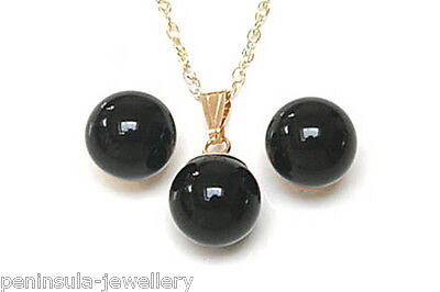 9ct Gold Black Onyx Pendant and Earring Set Gift Boxed