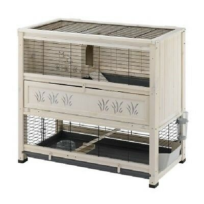 Wooden Pine Indoor Rabbit Hutch Guinea Pig Cage 2 Level Pet House