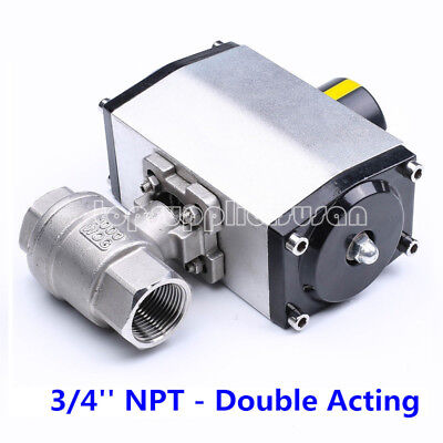 """3/4"""" Inch SS304 Pneumatic Double Acting Air Actuated 2 Pieces Ball Valve NC DN20"""