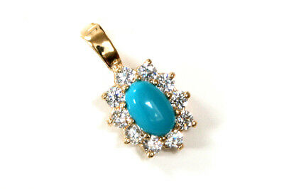 9ct Gold Turquoise and CZ Pendant without Chain Gift Boxed Made in UK