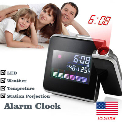 Digital LCD Dual Laser Wall Projector Projection Alarm Time Clock Temperature