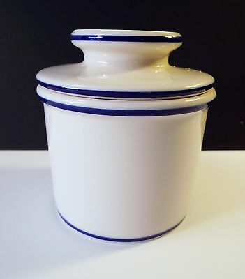 The Original Butter bell Crock L.Tremain Cooking Club of America White Blue Band