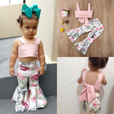 Fashion Toddler Kids Girls Strap Bowknot Tops Floral Pants 2Pcs Outfits Clothes