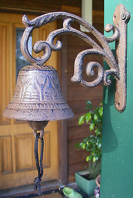 Rustic Country Solid Cast Iron Hanging Bell - Entry Front Door Bell - Vine  CI73