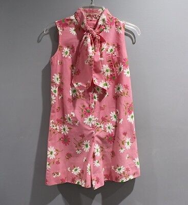 Vintage Pink Floral Shorts Romper Big Girls Size 10 12 One Piece Zip Up Outfit