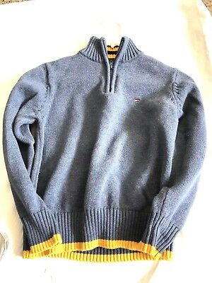 Tommy Hilfiger Boys Sweater Size Small 8/10 Blue with Gold Trim Zip Pull Over