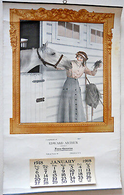 Antique 1918 Calendar Advertising Lady Horse Fancy Groceries Angola New York