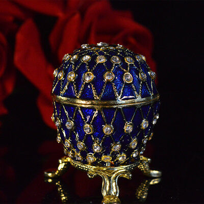 Royal Blue Diamond Embroidery Russian Egg for Christmas pretty gift